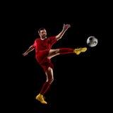Jogador de futebol na ação Foto de Stock Royalty Free