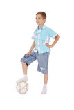 Jogador de futebol novo Fotografia de Stock