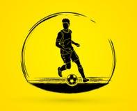 Jogador de futebol que corre com vetor do gráfico da ação da bola de futebol Imagens de Stock