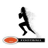 Jogador de futebol que desmorona na dinâmica em partículas pequenas ilustração stock