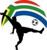 Jogador de futebol que retrocede a bandeira da esfera Fotos de Stock
