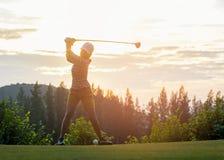 Jogador de golfe asiático da mulher que faz o T do balanço do golfe fora no tempo verde da noite do por do sol fotografia de stock royalty free