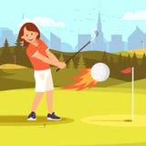 Jogador de golfe da mulher que bate a bola envolvida no fogo ilustração royalty free