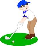Jogador de golfe dos desenhos animados do menino ilustração do vetor