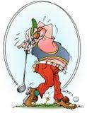 Jogador de golfe em uma greve Foto de Stock Royalty Free
