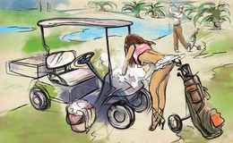Jogador de golfe - ilustração tirada e pintada de uma mão ilustração do vetor