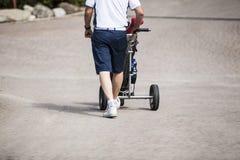 Jogador de golfe maduro no seu para trás Imagem de Stock Royalty Free