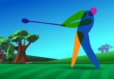 Jogador de golfe no campo de golfe ilustração royalty free