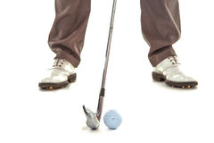 Jogador de golfe no estúdio branco Fotografia de Stock Royalty Free