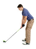Jogador de golfe no fundo branco Fotos de Stock