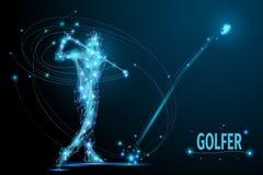 Jogador de golfe poli ilustração stock