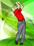 Jogador de golfe que balanç um clube ilustração do vetor