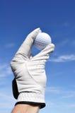 Jogador de golfe que prende uma esfera de golfe Imagem de Stock