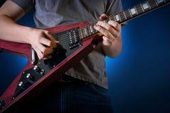 Jogador de guitarra da rocha Fotos de Stock Royalty Free
