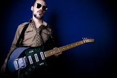 Jogador de guitarra da rocha Fotografia de Stock