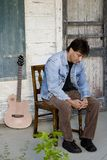 Jogador de guitarra no patamar Foto de Stock