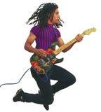 Jogador de guitarra preto no meio do ar Fotografia de Stock
