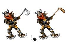 Jogador de hóquei com vara e viquingue com machado ilustração stock