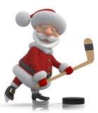 Jogador de hóquei de Santa Claus Fotografia de Stock