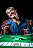 Jogador de pôquer alegre Foto de Stock Royalty Free