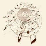 Jogador de registro do vintage cercado por notas musicais Imagem de Stock Royalty Free