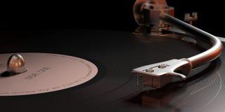 Jogador de registro de LP do vinil do vintage, opinião do close up com detalhes ilustração 3D ilustração do vetor
