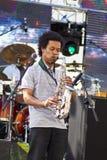 Jogador de saxofone fotografia de stock royalty free