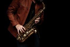 Jogador de saxofone do jazz na fase Foto de Stock Royalty Free