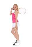 Jogador de ténis fêmea atrativo Fotografia de Stock