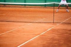Jogador de ténis na ação Fotos de Stock Royalty Free