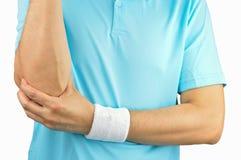 Jogador de tênis com ferimento do cotovelo imagens de stock