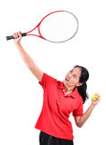 Jogador de tênis isolado Fotos de Stock Royalty Free