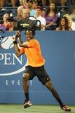 Jogador de tênis profissional Gael Monfils durante o segundo fósforo do círculo no US Open 2013 Imagem de Stock