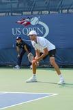 Jogador de tênis profissional Ivo Karlovic durante o fósforo do fósforo de qualificação no US Open 2013 Fotografia de Stock Royalty Free