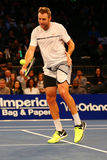 Jogador de tênis profissional Jack Sock do Estados Unidos na ação durante evento do tênis do aniversário da prova final de BNP Pa Foto de Stock Royalty Free