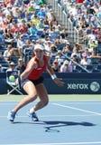 Jogador de tênis profissional Johanna Konta de Grâ Bretanha na ação durante seu terceiro fósforo do US Open 2015 do círculo Fotos de Stock