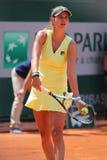 Jogador de tênis profissional Julia Goerges de Alemanha durante seu fósforo em Roland Garros 2015 Imagem de Stock