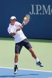 Jogador de tênis profissional Kei Nishikori de Japão durante o fósforo do US Open 2014 Fotografia de Stock Royalty Free