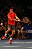Jogador de tênis profissional Kei Nishikori de Japão na ação durante evento do tênis do aniversário da prova final de BNP Paribas Imagem de Stock