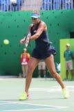 Jogador de tênis profissional Madison Keys do Estados Unidos na ação durante seu fósforo de quartos de final do Rio 2016 Jogos Ol Imagens de Stock