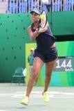 Jogador de tênis profissional Madison Keys do Estados Unidos na ação durante seu fósforo de quartos de final do Rio 2016 Jogos Ol Foto de Stock Royalty Free