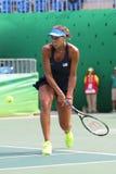Jogador de tênis profissional Madison Keys do Estados Unidos na ação durante seu fósforo de quartos de final do Rio 2016 Jogos Ol Imagem de Stock Royalty Free