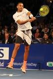 Jogador de tênis profissional Nick Kyrgios de Austrália na ação durante evento do tênis do aniversário da prova final de BNP Pari Fotografia de Stock