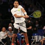 Jogador de tênis profissional Nick Kyrgios de Austrália na ação durante evento do tênis do aniversário da prova final de BNP Pari Foto de Stock
