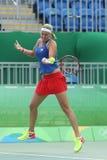 Jogador de tênis profissional Petra Kvitova de República Checa na ação durante seu fósforo do quartos de final do Rio 2016 Jogos  Imagens de Stock