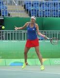 Jogador de tênis profissional Petra Kvitova de República Checa na ação durante seu fósforo do quartos de final do Rio 2016 Jogos  Imagem de Stock Royalty Free