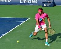 Jogador de tênis profissional Stefanos Tsitsipas dos homens de Grécia fotos de stock