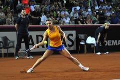 Jogador de tênis Simona Halep da mulher durante um jogo Imagem de Stock Royalty Free