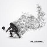 Jogador de voleibol de uma silhueta da partícula Imagem de Stock