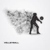 Jogador de voleibol de uma silhueta da partícula Fotografia de Stock Royalty Free